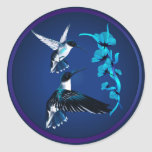 Pegatina azul de dos colibríes