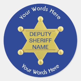 Pegatina azul de encargo del ayudante del sheriff