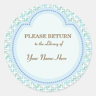 Pegatina azul de la biblioteca - vuelva por favor