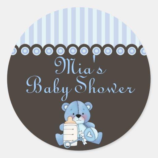 Pegatina azul de la fiesta de bienvenida al bebé