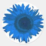 Pegatina azul de la flor del arte pop