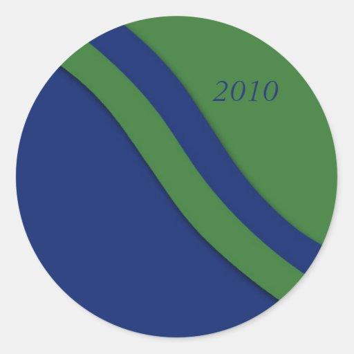 Pegatina azul de la graduación de la onda verde