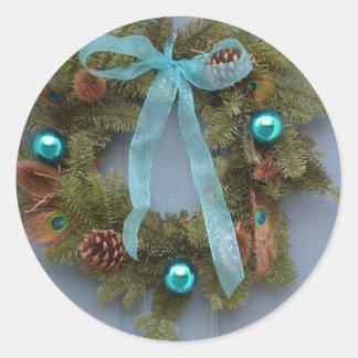 Pegatina azul de la guirnalda del navidad