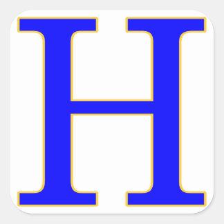 Pegatina azul de la letra H