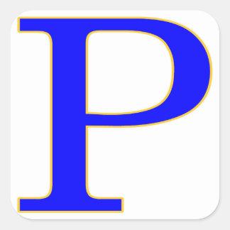 Pegatina azul de la letra P