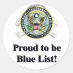 Pegatina azul de la lista