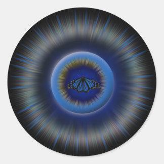 Pegatina azul de la mandala de la mariposa