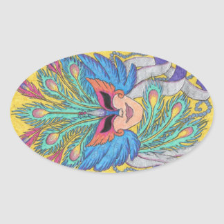 Pegatina azul de la máscara del carnaval del ala