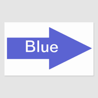 Pegatina azul de la muestra de la flecha