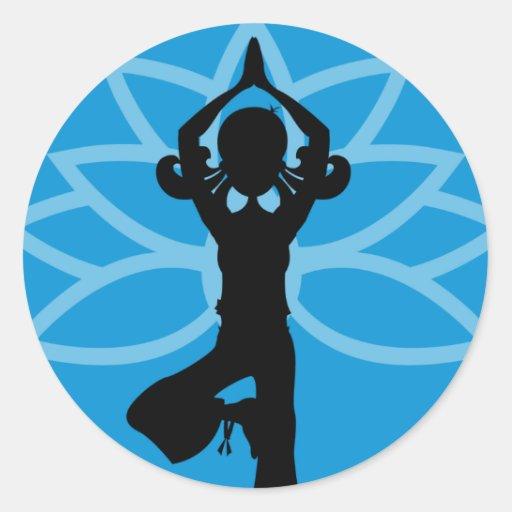 Pegatina azul de la silueta de la yoga