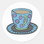 Pegatina azul de la taza de té