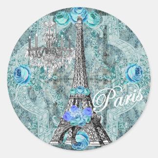 Pegatina azul de la torre Eiffel de Bella Marie