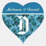 Pegatina azul de los rosas de la letra D del