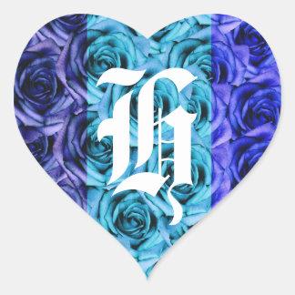 Pegatina azul de los rosas de la letra H del