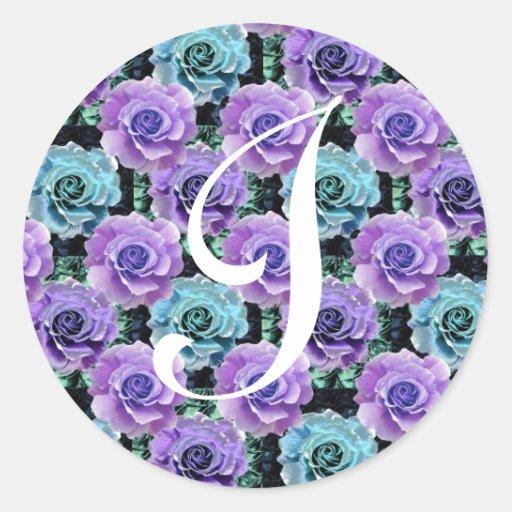 Pegatina azul de los rosas de la letra I del
