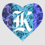 Pegatina azul de los rosas de la letra K del