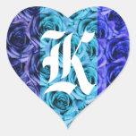Pegatina azul de los rosas de la letra K del monog