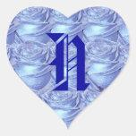 Pegatina azul de los rosas de la letra N del