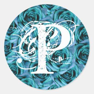 Pegatina azul de los rosas de la letra P del