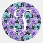 Pegatina azul de los rosas de la letra T del