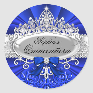 Pegatina azul de Quinceanera de la tiara y del