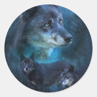 Pegatina azul del arte del lobo