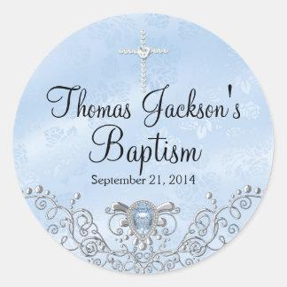 Pegatina azul del bautismo de la joya de la chispa