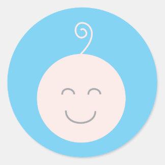 Pegatina azul del bebé de la sonrisa