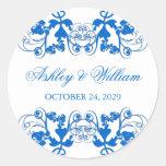 pegatina azul del boda del Flourish floral del