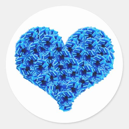 Pegatina azul del corazón de las escarapelas