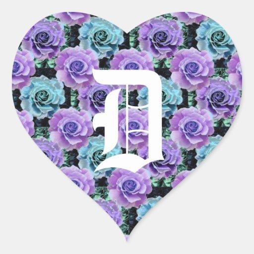 Pegatina azul del corazón de los rosas de la letra