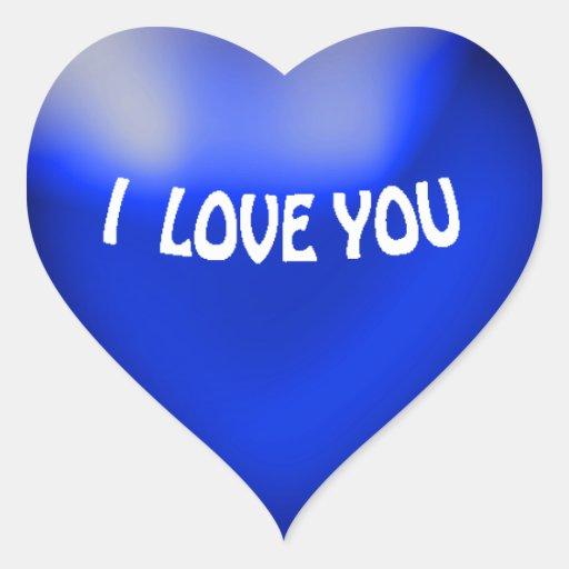 Pegatina azul del corazón del estilo del globo