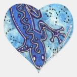 Pegatina azul del corazón del Gecko