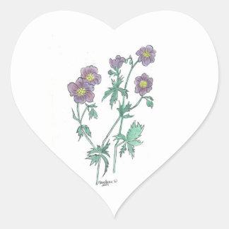 Pegatina azul del corazón del geranio