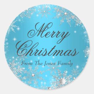Pegatina azul del día de fiesta del navidad del