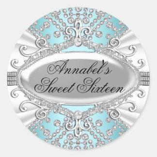 Pegatina azul del dulce 16 del diamante elegante