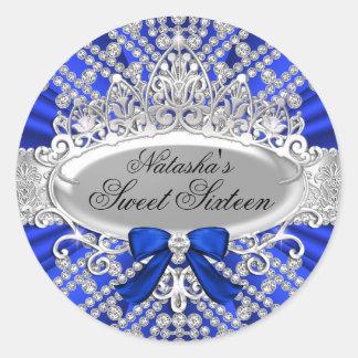 Pegatina azul del dulce 16 del diamante y de la