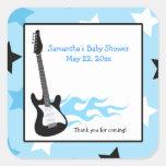 Pegatina azul del favor del CUADRADO de la guitarr