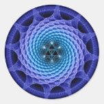 Pegatina azul del fractal de la mandala espiral de