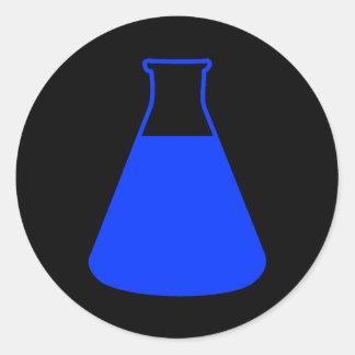 Pegatina azul del frasco de Erlenmeyer
