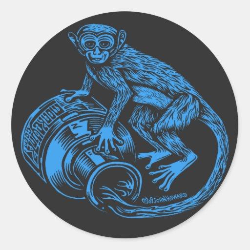 Pegatina azul del mono