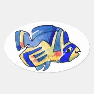 Pegatina azul del óvalo de los pescados de los