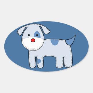 Pegatina azul del perrito del remiendo