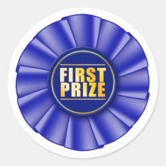 pegatina azul del primer premio del rosetón