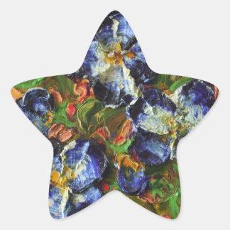 Pegatina azul del racimo de flor