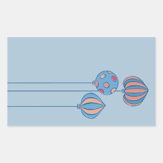 Pegatina azul del rectángulo de las bolas retras
