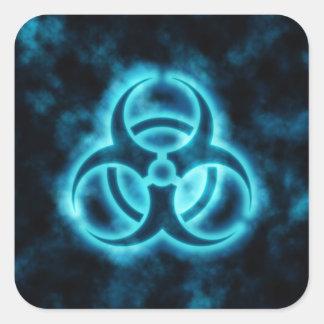 Pegatina azul del símbolo del Biohazard del