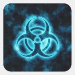 Pegatina azul del símbolo del Biohazard del respla