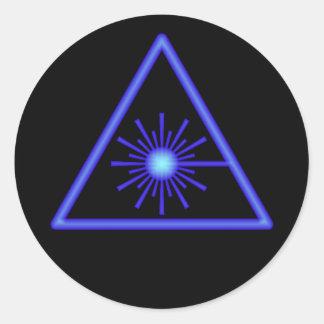 Pegatina azul del símbolo del laser