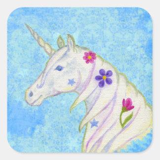 Pegatina azul del unicornio de la flor